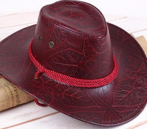 Western Cowboy Leather Sunhat With Adjustable Strap