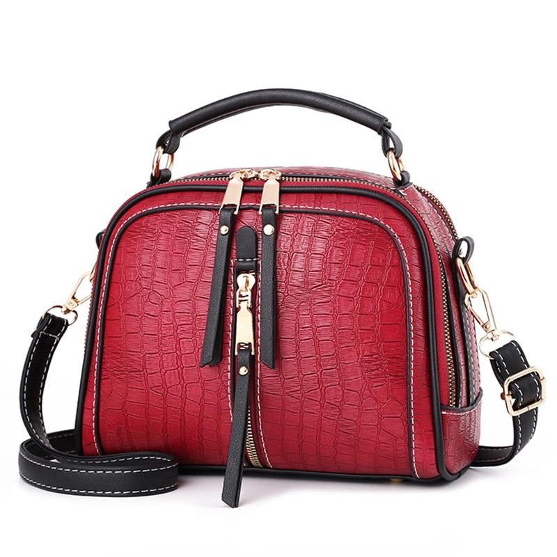 Women's Stone Pattern Leather Shoulder Bag - GiftWorldStyle - Luxury Jewelry and Accessories