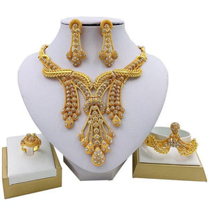 Nigerian Wedding Gold Necklace, Earrings, Bracelet & Ring - GiftWorldStyle - Luxury Jewelry and Accessories
