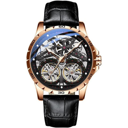 Waterproof Automatic Men Watch With Double Tourbillon - Leather