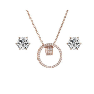 Women's Crystal Stud Earrings, Necklace and Mesh Bracelet Set - GiftWorldStyle - Luxury Jewelry and Accessories