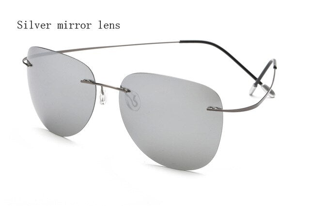 Rimless Polarized Sunglasses From Titanium Metal,UV400 - GiftWorldStyle - Luxury Jewelry and Accessories