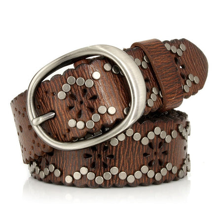 Women Cowskin Rock Belt With Rivet Hollow