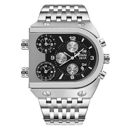 Waterproof Stainless Steel Quartz Watch With Three Time Zone,3Bar - GiftWorldStyle - Luxury Jewelry and Accessories