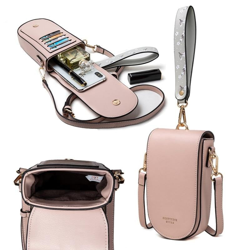 Leather Mini Bag With Card Slots  And Handle - GiftWorldStyle - Luxury Jewelry and Accessories