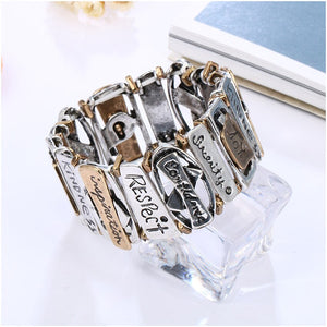 Steampunk Bracelet With Geometric Letter Carving For Women - GiftWorldStyle - Luxury Jewelry and Accessories