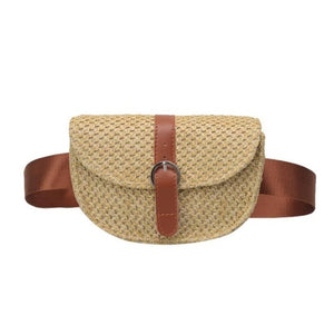Straw Waist Pack Bag For Women With Leather Belt - GiftWorldStyle - Luxury Jewelry and Accessories