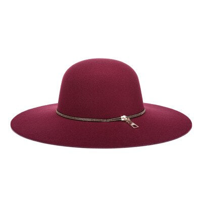 Wool Vintage Wine Red Hat With Wide Brim Felt - GiftWorldStyle - Luxury Jewelry and Accessories