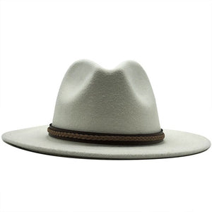 Wide Brim Fedoras Hat With Artificial Wool and Leather Strap - GiftWorldStyle - Luxury Jewelry and Accessories