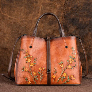 Women's Genuine Leather Patchwork Bag With Small Flowers