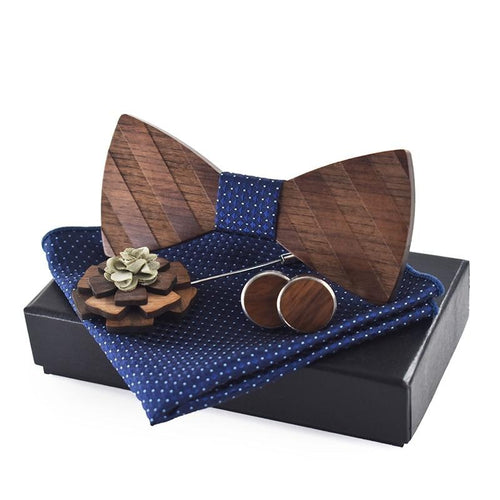 Men's Wooden Cufflinks, Pocket Square, Pin and Bow Tie Set - GiftWorldStyle - Luxury Jewelry and Accessories