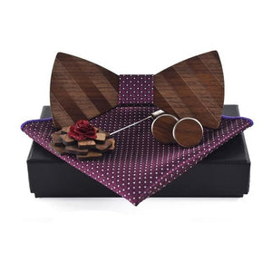 Men's Wooden Cufflinks, Pocket Square, Pin and Bow Tie Set