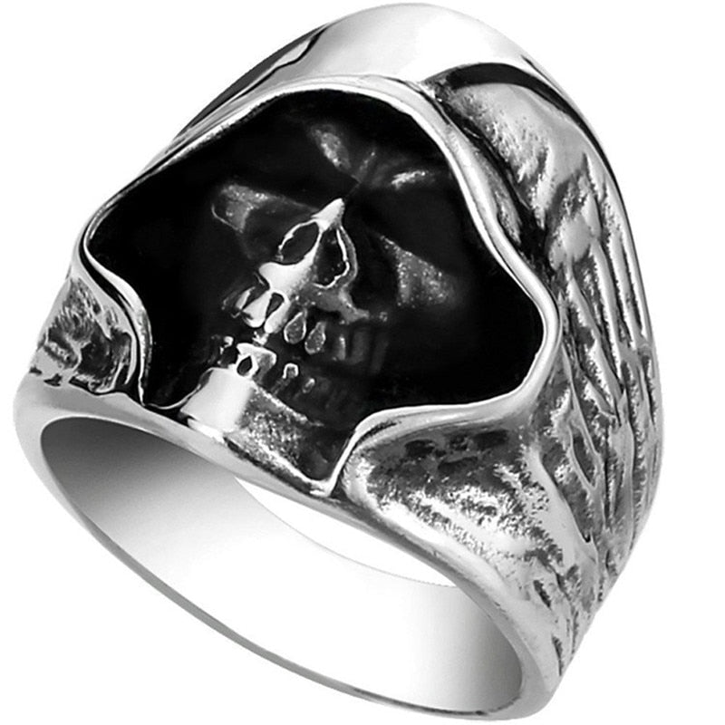 Men's Biker Ring In Gothic Style Death Grim Skull - GiftWorldStyle - Luxury Jewelry and Accessories