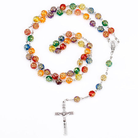 Men's Prayer Catholic Rosary Beads With Church And Cross Pendant