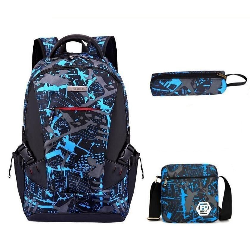 3 Pcs Camouflage Waterproof Backpack With Pencil Bag - GiftWorldStyle - Luxury Jewelry and Accessories