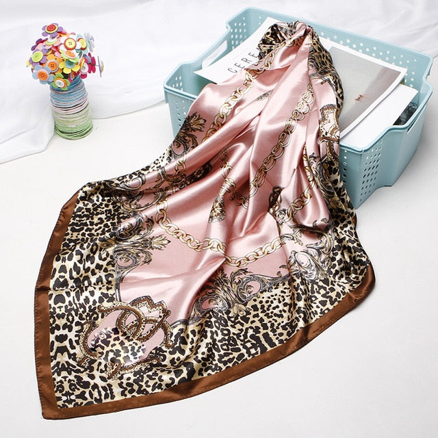 Silk Satin Scarves For Women With Leopard Print,90cm*90cm - GiftWorldStyle - Luxury Jewelry and Accessories