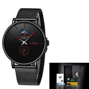 Luxury Quartz Waterproof Watch With Thin Stainless Steel Mesh