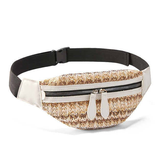 Straw Summer Waist Bag With Phone Pouch