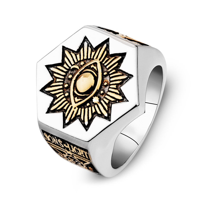 Men's Stainless Steel Masonic Totem Ring