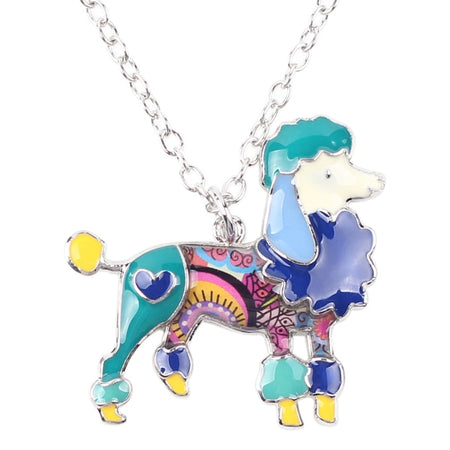 Enamel Alloy Fashion Poodle Dog Necklace Chain Pendant Choker Cute Animal Jewelry