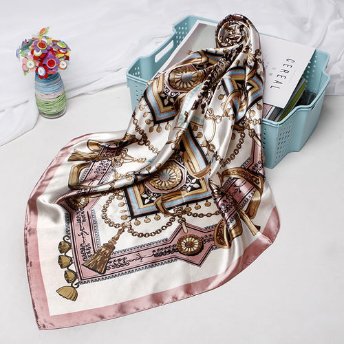 Women's Hair Scarf From Silk Satin With Luxury Print,90*90cm - GiftWorldStyle - Luxury Jewelry and Accessories