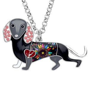Rhinestone Dachshund Necklace With Enamel Alloy, Chain - GiftWorldStyle - Luxury Jewelry and Accessories