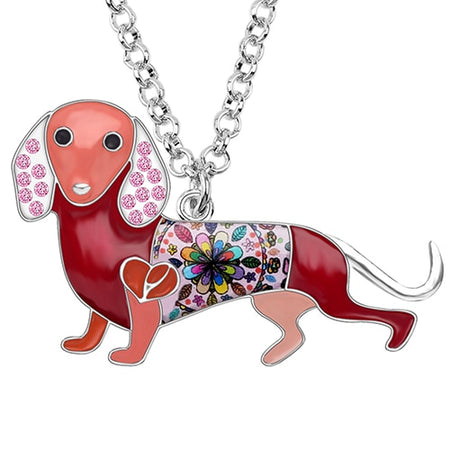 Enamel Alloy Crystal Rhinestone Dachshund Dog Necklace Pendant Chain Choker Cartoon Animal Jewelry