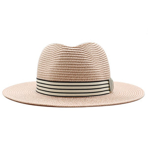 Fedora Straw Summer Hat With Plaid Ribbon - GiftWorldStyle - Luxury Jewelry and Accessories