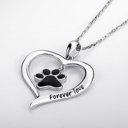 Cat Dog Paw Heart Necklace Pendant - 925 Sterling Silver