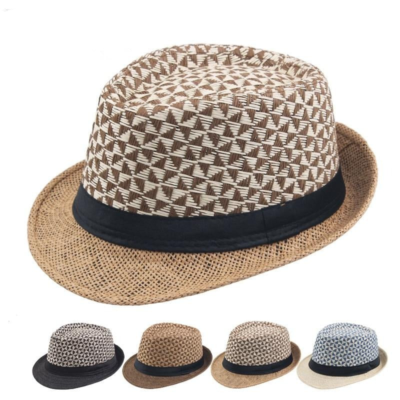 Straw Fedora Hat For Beach With Plaid Cloth