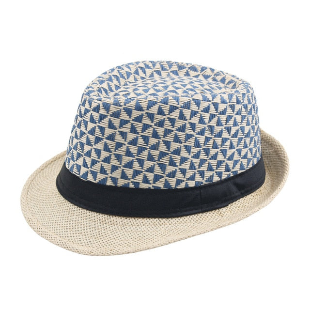 Straw Fedora Hat For Beach With Plaid Cloth - GiftWorldStyle - Luxury Jewelry and Accessories