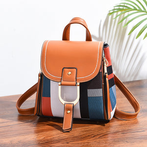 Women's Colorblock Leather Backpack