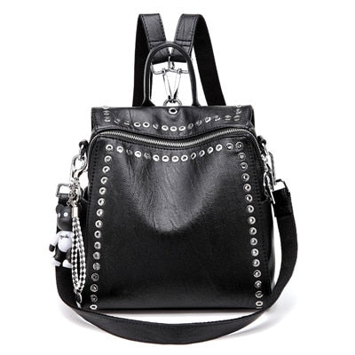 Leather Backpack For Women With Arcuate Shoulder Strap, Zipper And Rivet