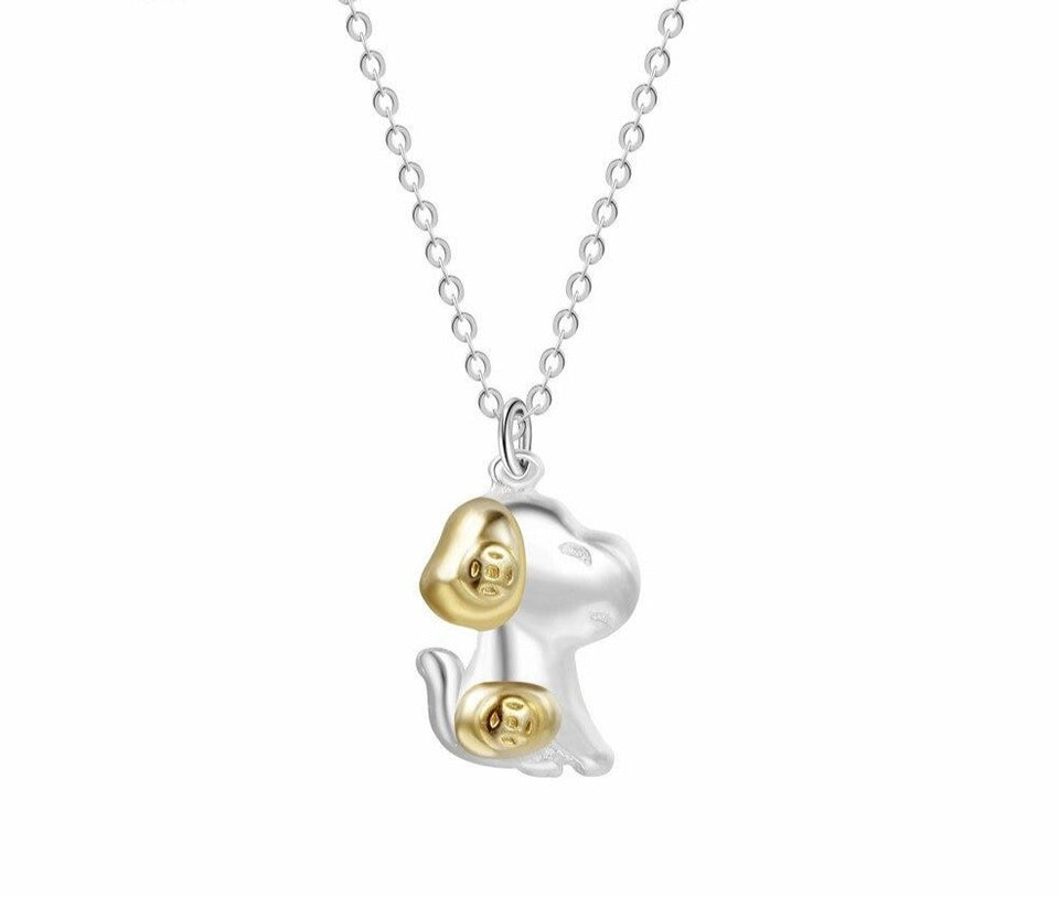 QIAMNI Lovely Pet 3D Puppy Dog Lover Animal Memorial Necklaces Pendants Chain Collar Birthday Christmas Gift for Women Girls