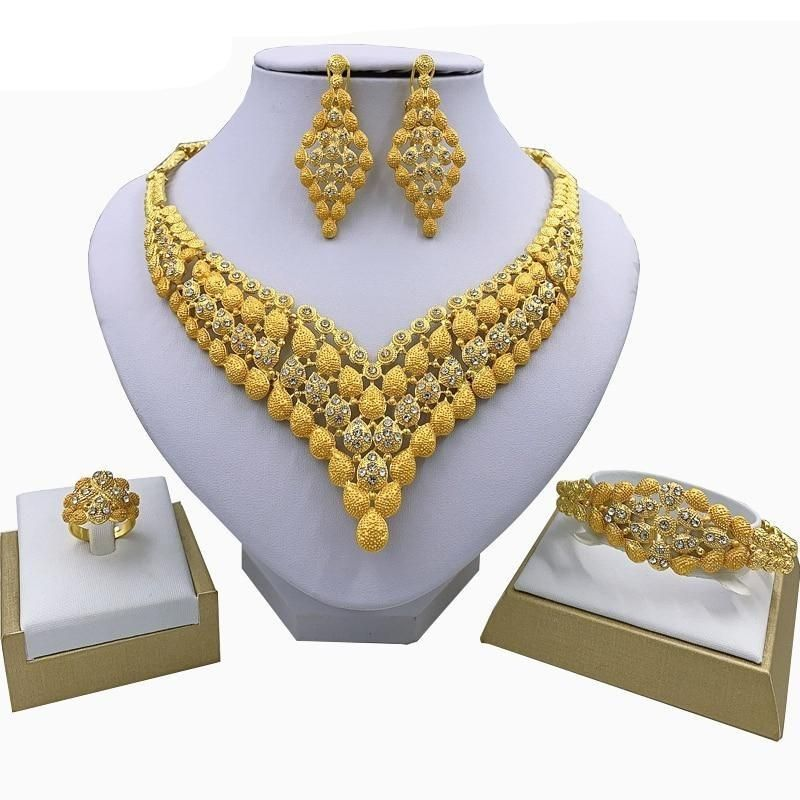 African Wedding Jewelry Sets - Necklace, Bracelet, Earrings & Ring - GiftWorldStyle - Luxury Jewelry and Accessories