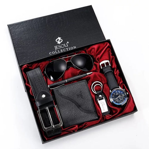 Men's Leather Wallet, Aviator Sunglasses, Belt, Keychain, Pen and Watch set - GiftWorldStyle - Luxury Jewelry and Accessories
