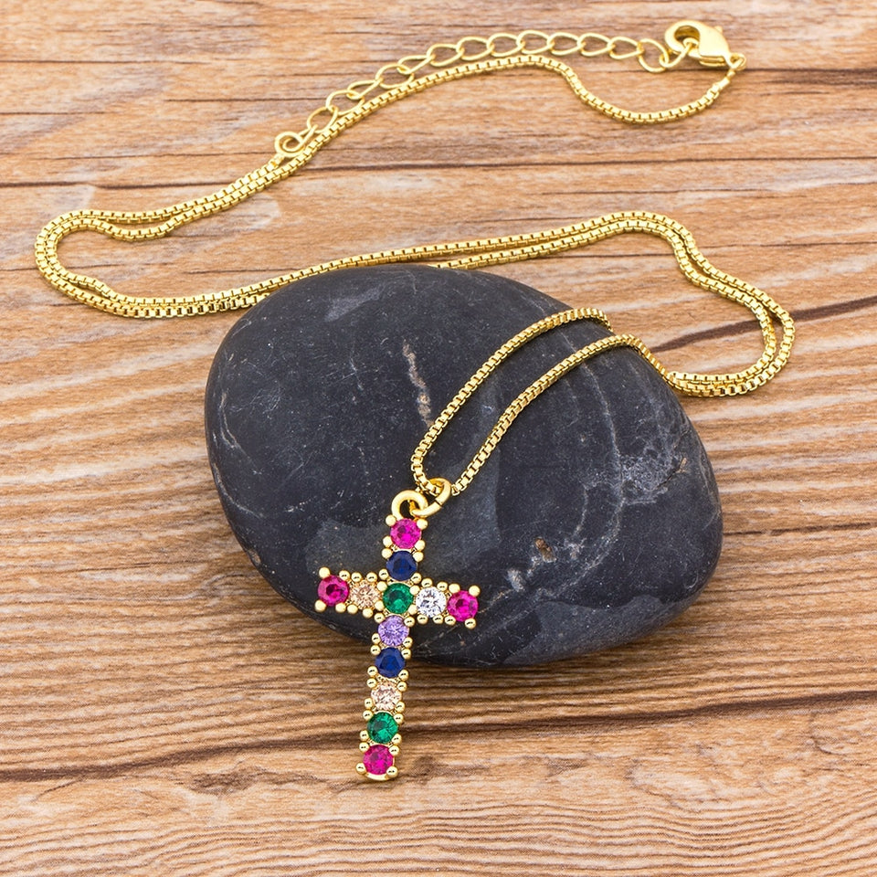 Rainbow Crystal Zirconia Cross Necklace - GiftWorldStyle - Luxury Jewelry and Accessories