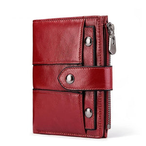 Genuine Leather Wallet with Zipper and Metal Eyelets