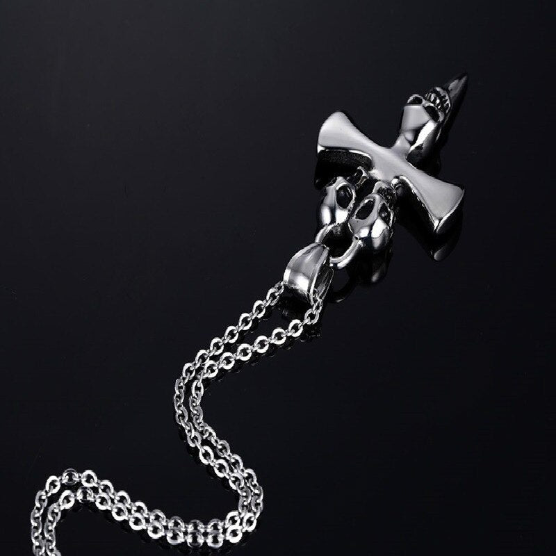 Necklace Cross - Ghost Skullhead - GiftWorldStyle - Luxury Jewelry and Accessories
