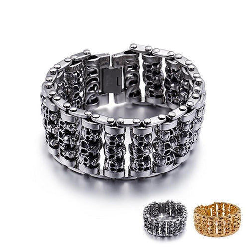 Punk 316 Stainless Steel Multiple Skull Heads Bracelet