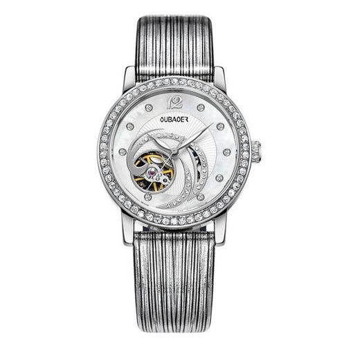 Women's Cut Out Crystal Leather Strap Watch