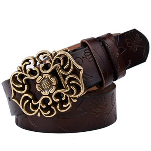 Genuine Cowskin Belt With Floral Curved Buckle