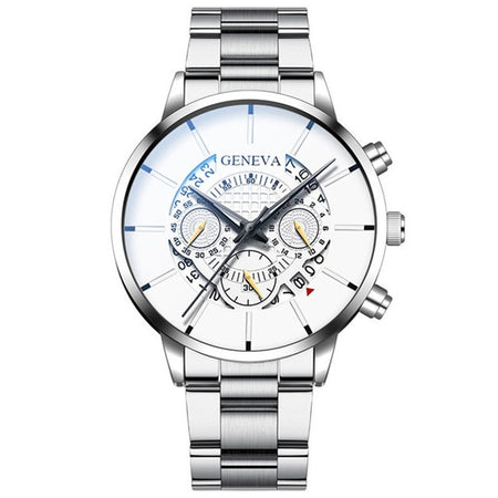 Quartz Watch With Stainless Steel And Complete Calendar, Shock Resistant - GiftWorldStyle - Luxury Jewelry and Accessories