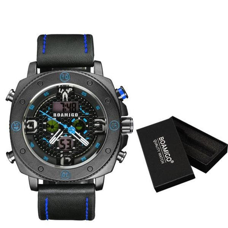 Casual Quartz Watch With Military Digital Chronograph