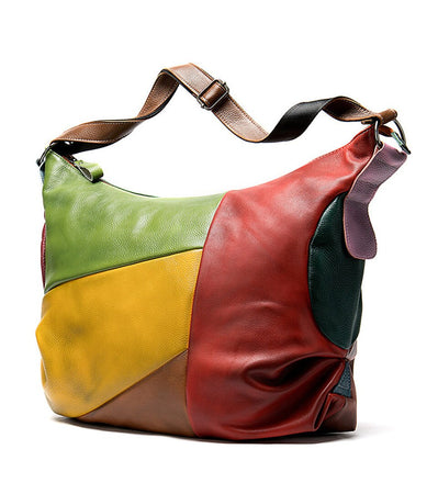 Real Leather Patchwork Bag For Women In Colorful Color,Handle