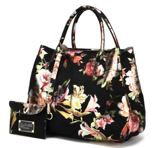 Leather Floral Handbag With Blossom Shiny, Outer Purse