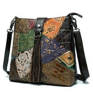 Women's Genuine Leather Patchwork Handbag With Ornaments And Clasp