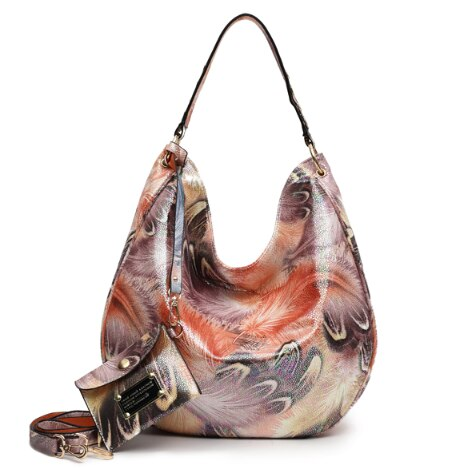 Shiny Women Handbag With Bohemian Style Flowers
