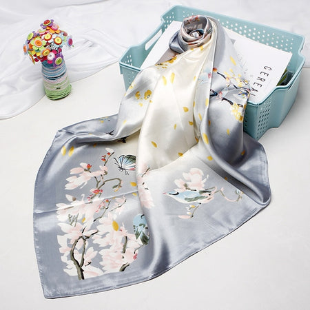 Silk Satin Scarf For Women In Square Shape With Flowers Floral - GiftWorldStyle - Luxury Jewelry and Accessories