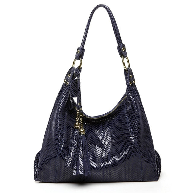 Real Soft Suede Bag With Shiny Snake Leather